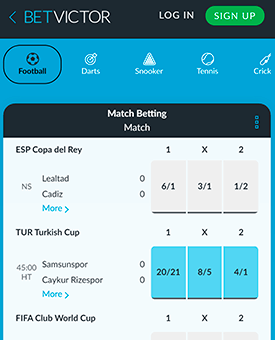 BetVictor mobile screen