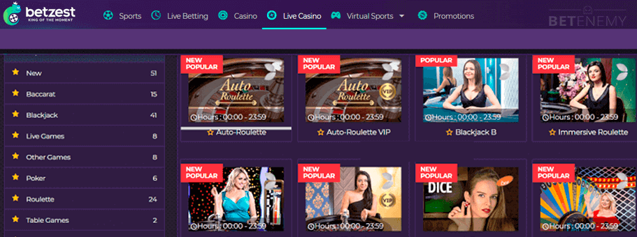 live casino section of BetZest
