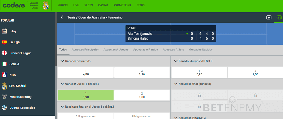 Codere live betting