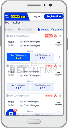 Cyber.bet mobile version