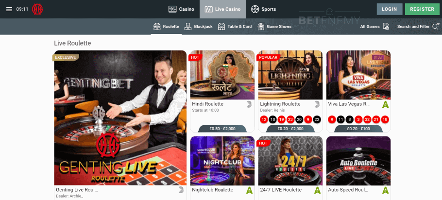 Live casino section at Genting Casino