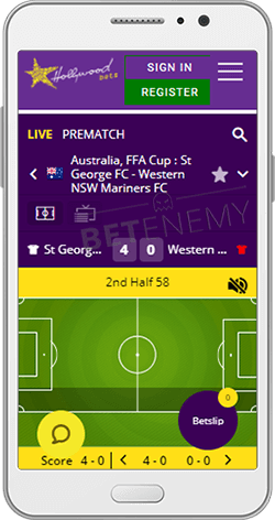 Hollywoodbets Football Inplay on Android