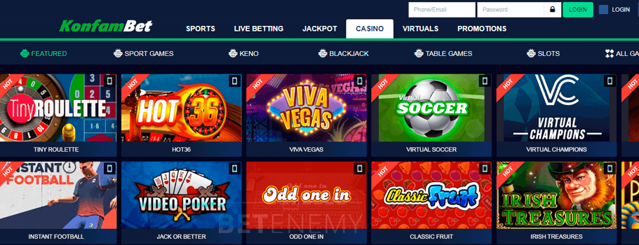 Konfambet casino section with games