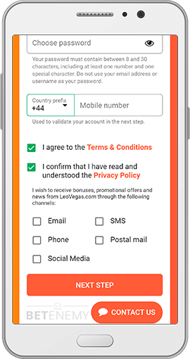 LeoVegas mobile sign-up form