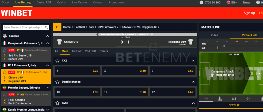 live betting section at winbet