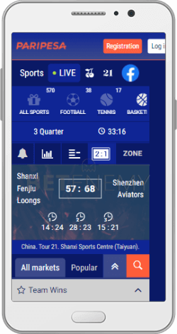 In-Play section in Paripesa mobile Android app