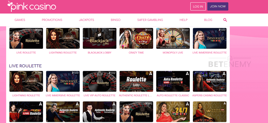Pink casino live games