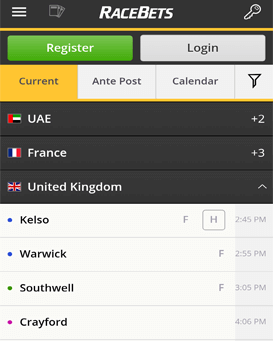 mobile site of RaceBets