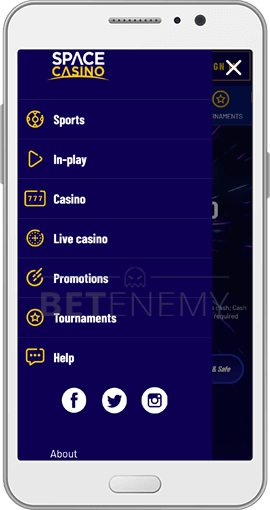 spacecasino android app navigation