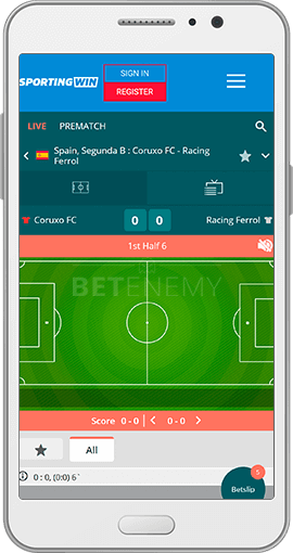 SportingWin mobile app for Android