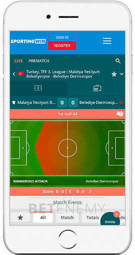 SportingWin mobile app for iPhone