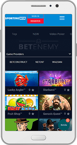 SportingWin mobile casino games for Android