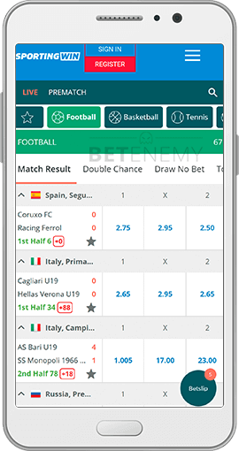 SportingWin mobile live betting for Android