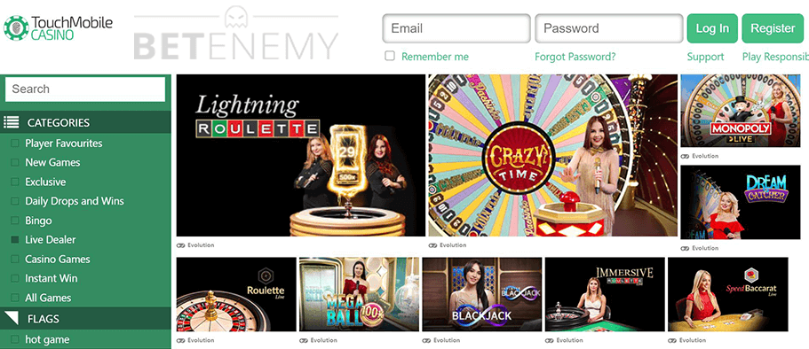 Touch Mobile Casino Live Games