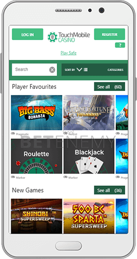 Touch Mobile Casino Smart Phone Overlay